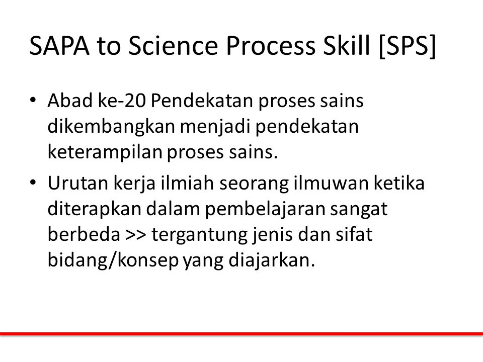 SAPA to Science Process Skill [SPS]
